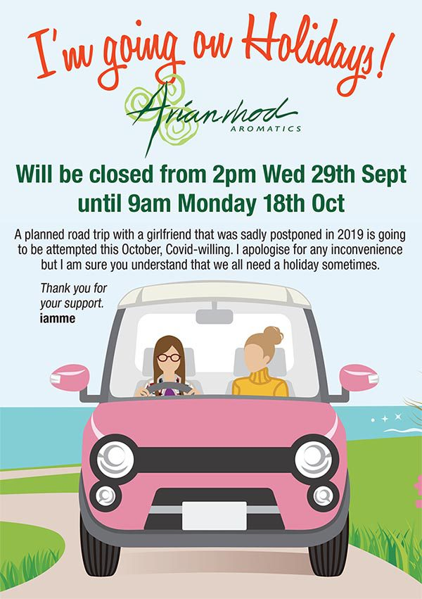 Close for holidays from 2pm Wednesday 29 September until 9am Monday 18 October.