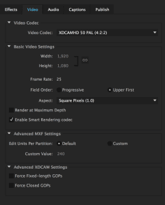 MXF-OP1a-Video-Settings
