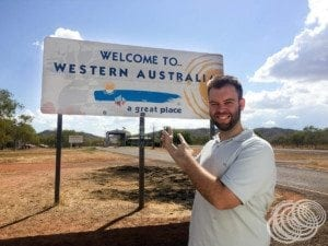 Matt at the Western Australia-Northern Territory border crossing quarantine station