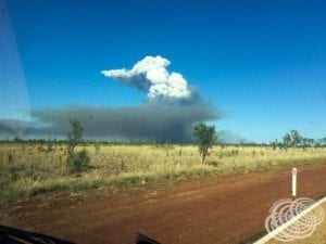 Fire between Fitzroy Crossing and Derby.