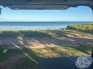 The view from the back of our van at the Roebuck Bay Caravan Park