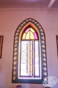 One of the pearl decorated windows at the pearl shell church in Beagle Bay