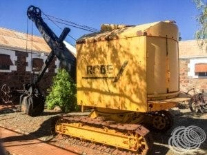 An old Robe mining excavator at the Roebourne Gaol Museum