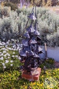 Another of the Hutt River garden sculptures in the flowers