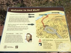 Map of the Red Bluff walking tracks from the car park