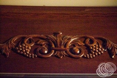 Some of the woodwork around the Chocolate Lounge