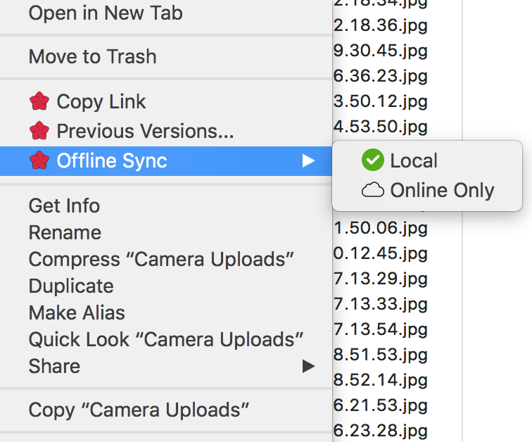 The new offline sync context menu in ExpanDrive 6