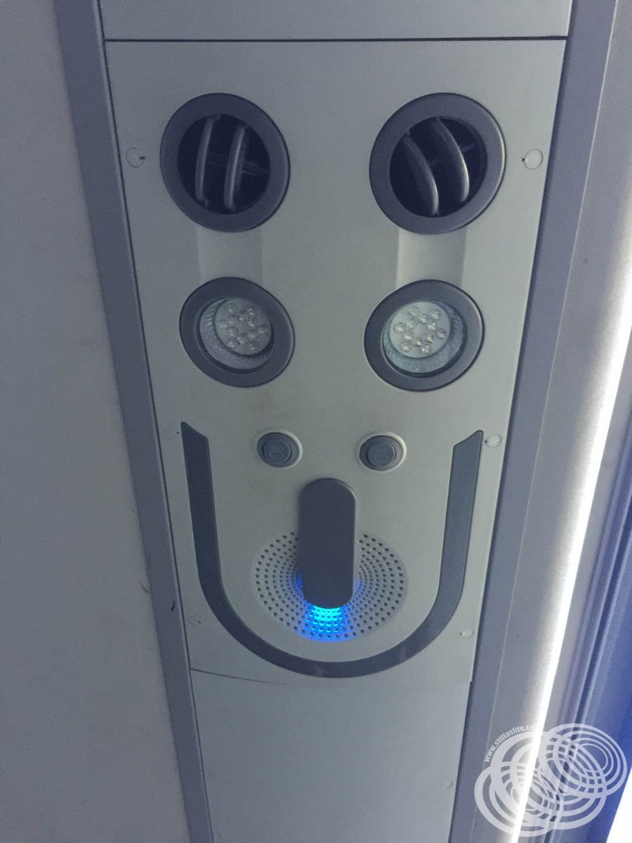 Air conditioning and lighting controls above my seat.