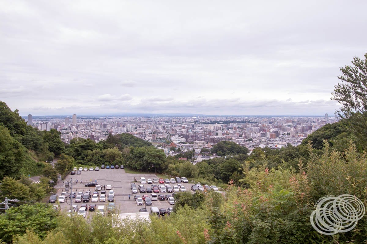 Looking back down over the Okurayama parking lot towards Sapporo