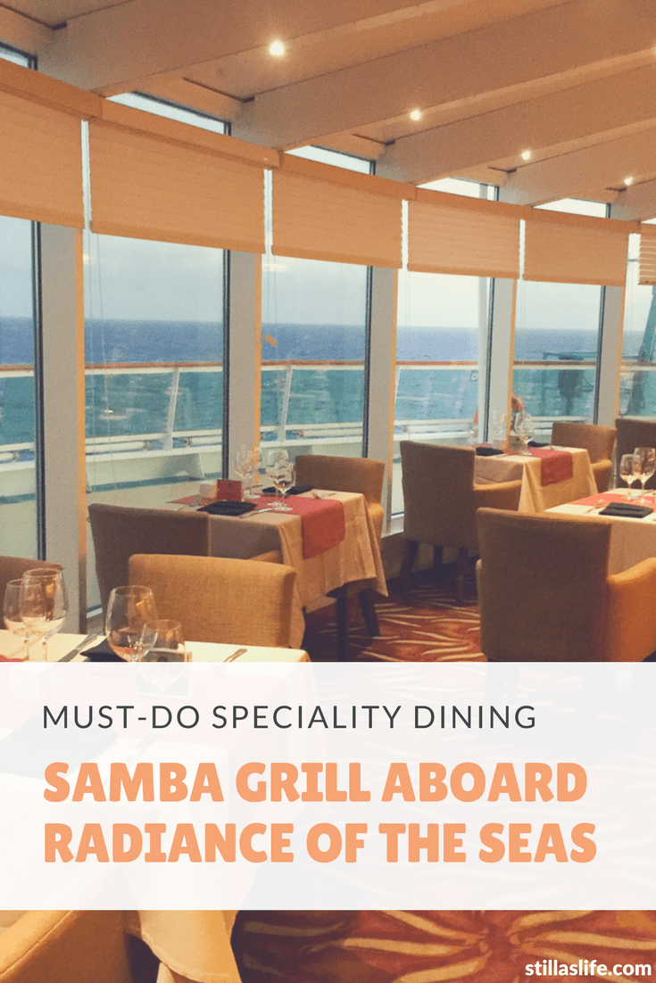 Samba Grill is one of Royal Caribbean's speciality dining options hidden away on Radiance of the Seas. It's not on any other ships at all, so it's unique in that regard, and in the cuisine. Samba Grill is a Brazilian inspired restaurant that serves salads, grilled veggies and seven different cuts of meat straight off the rotary grill skewer