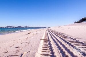 4WD Tracks on Jimmys Beach Looking to Port Stephens