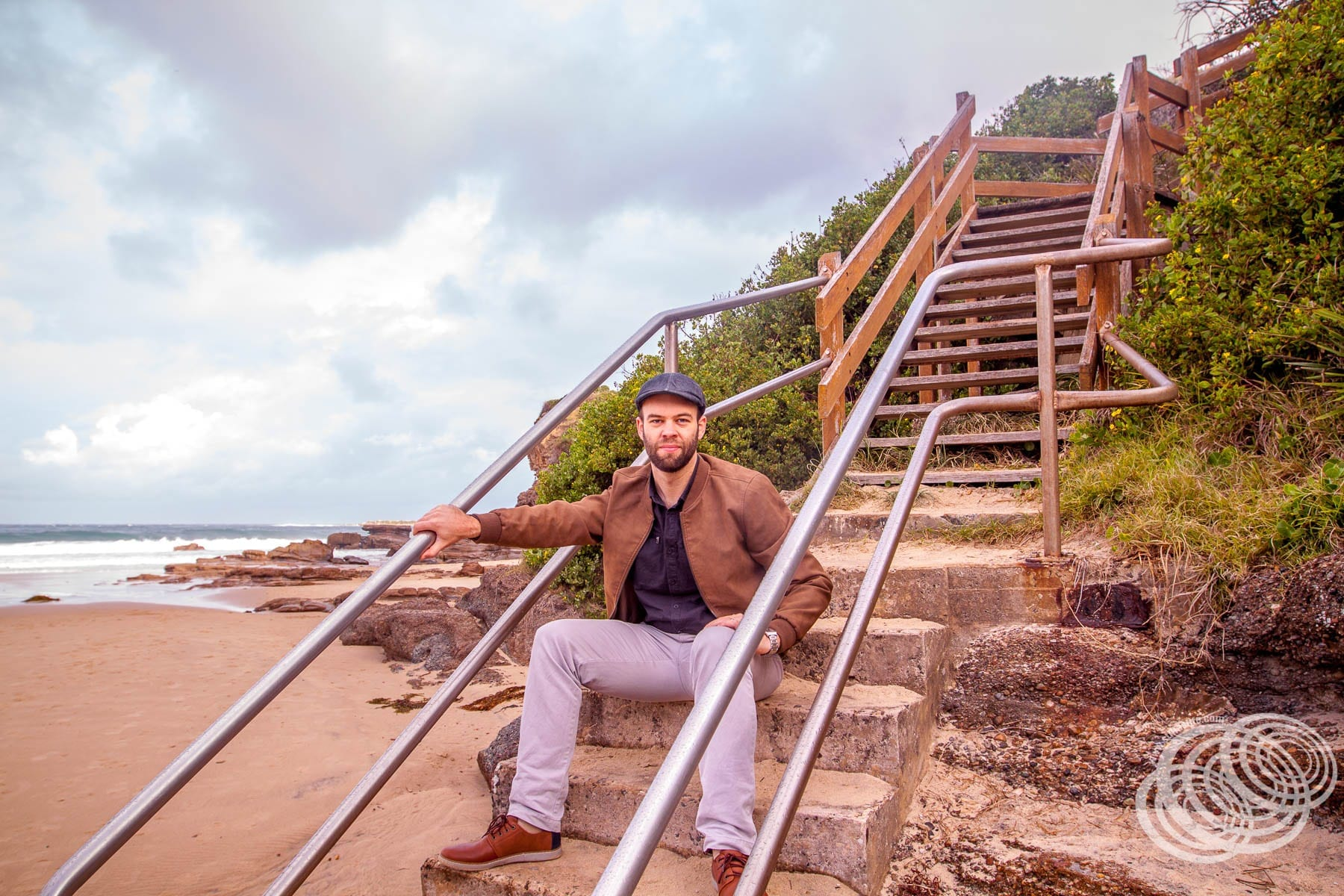 Matt at the stairs to Caves Beach Lookout