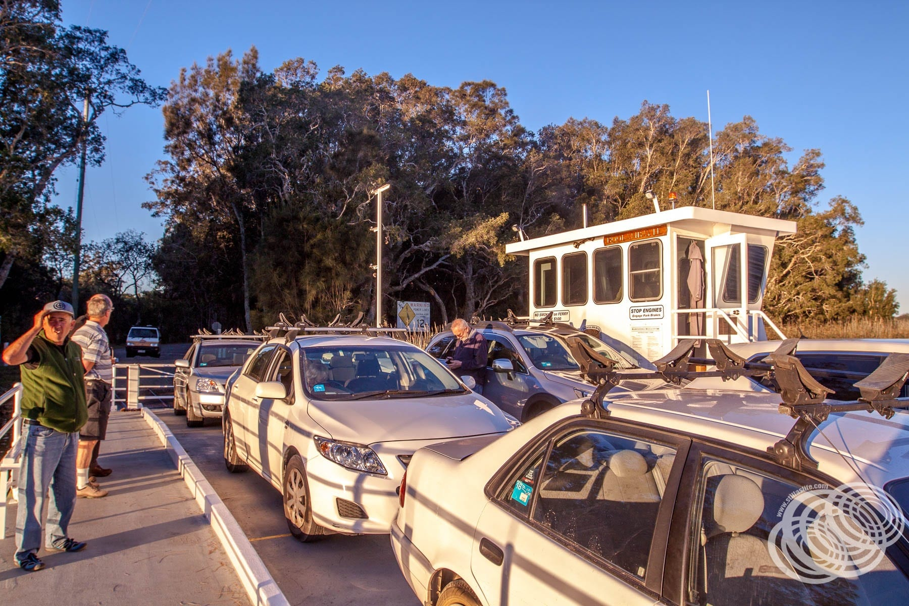 The Bombah Point Ferry carries 6 cars