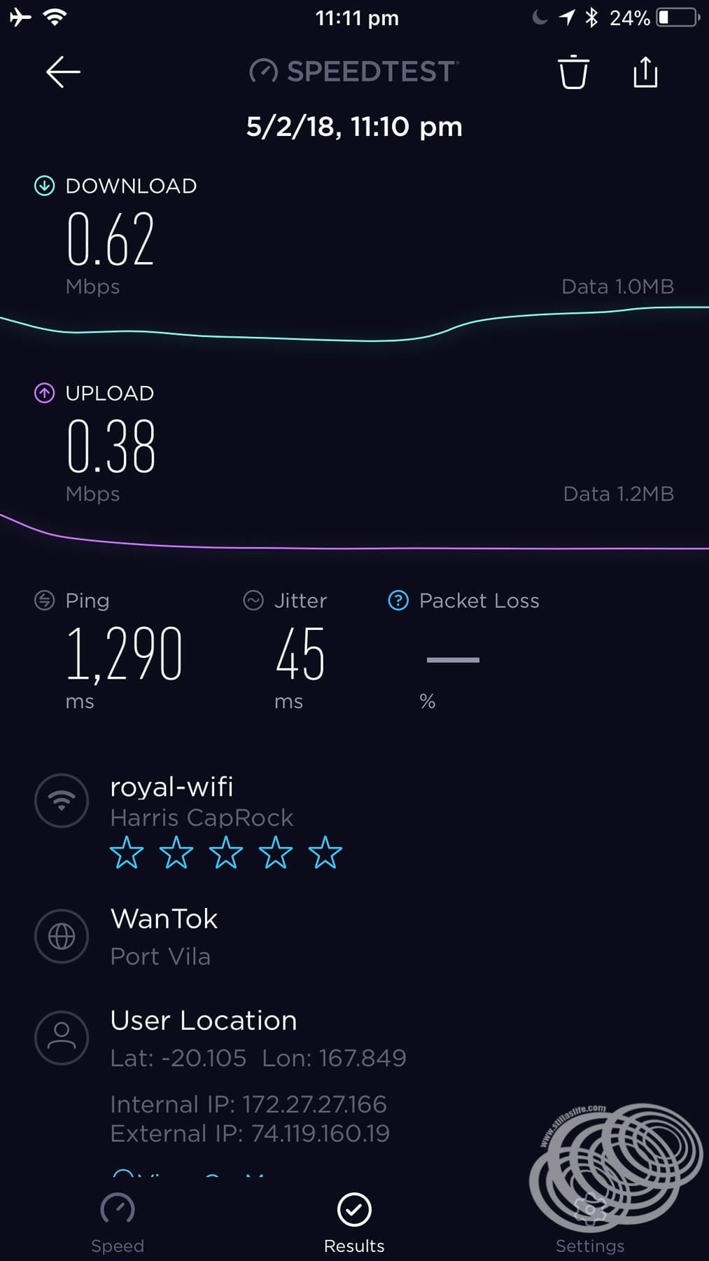 Voom internet speed on Explorer of the Seas