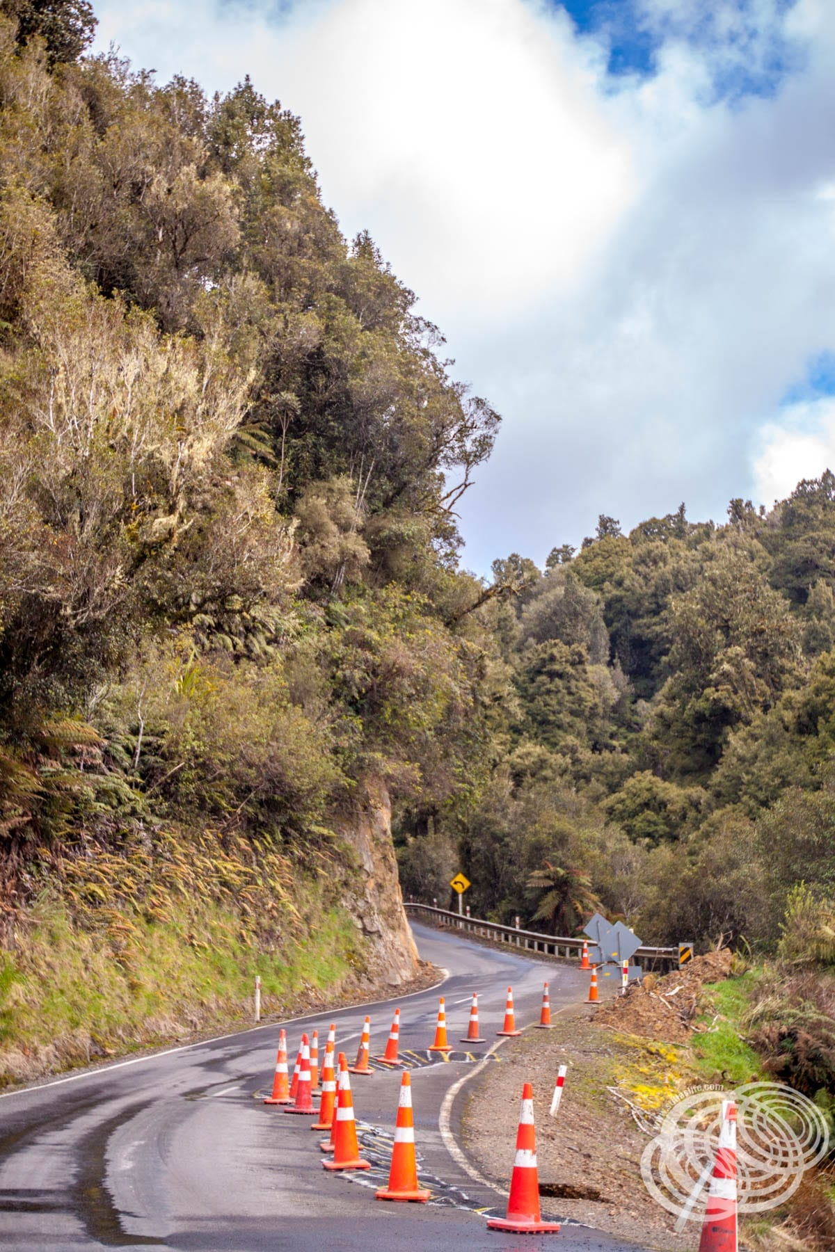 Bends and a wash out on the Old World Highway in New Zealand