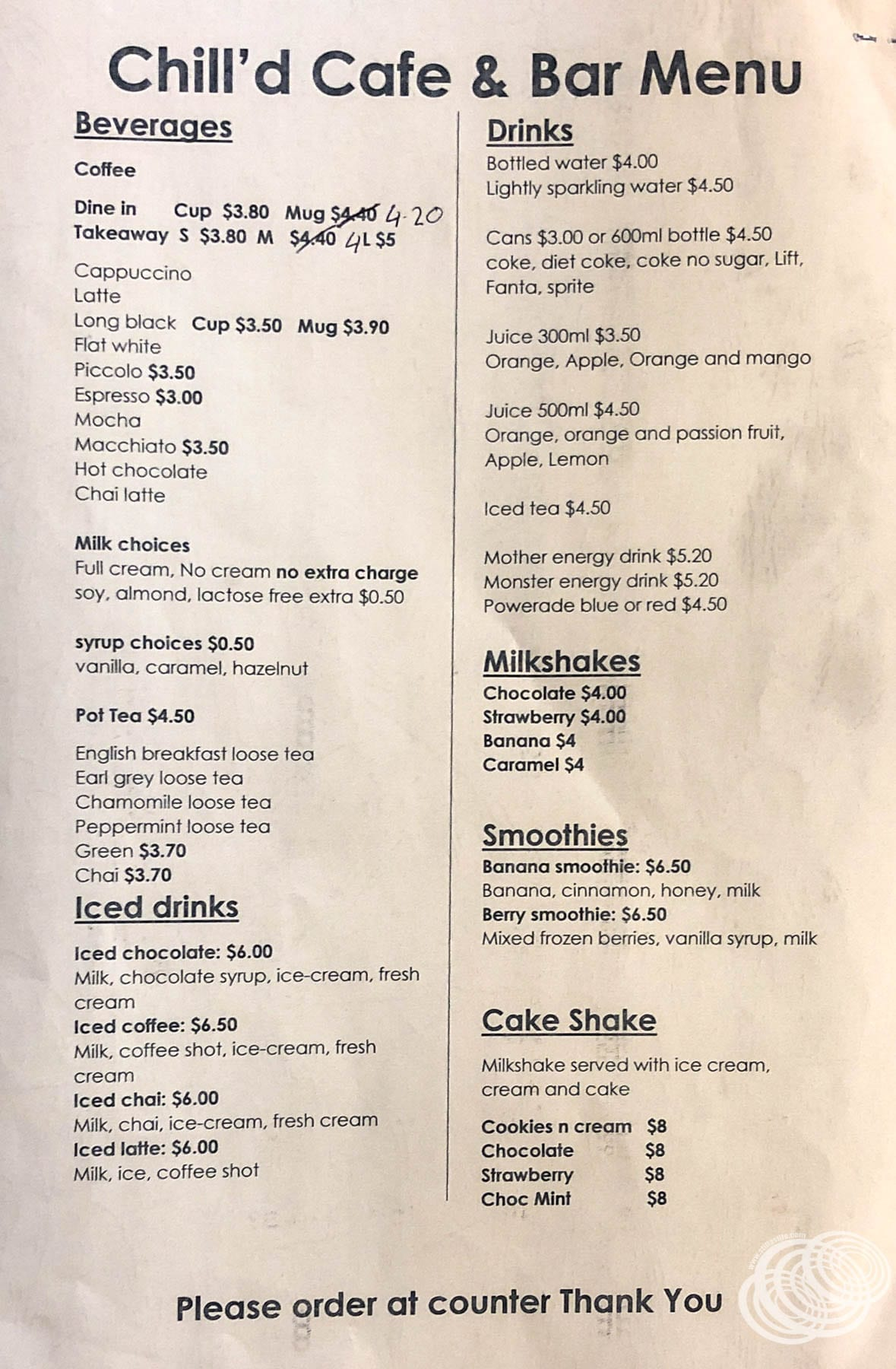 Chill'd Cafe and Bar Menu - Page 4