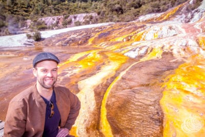 Matt at Orakei Korako Geothermal Park in New Zealand