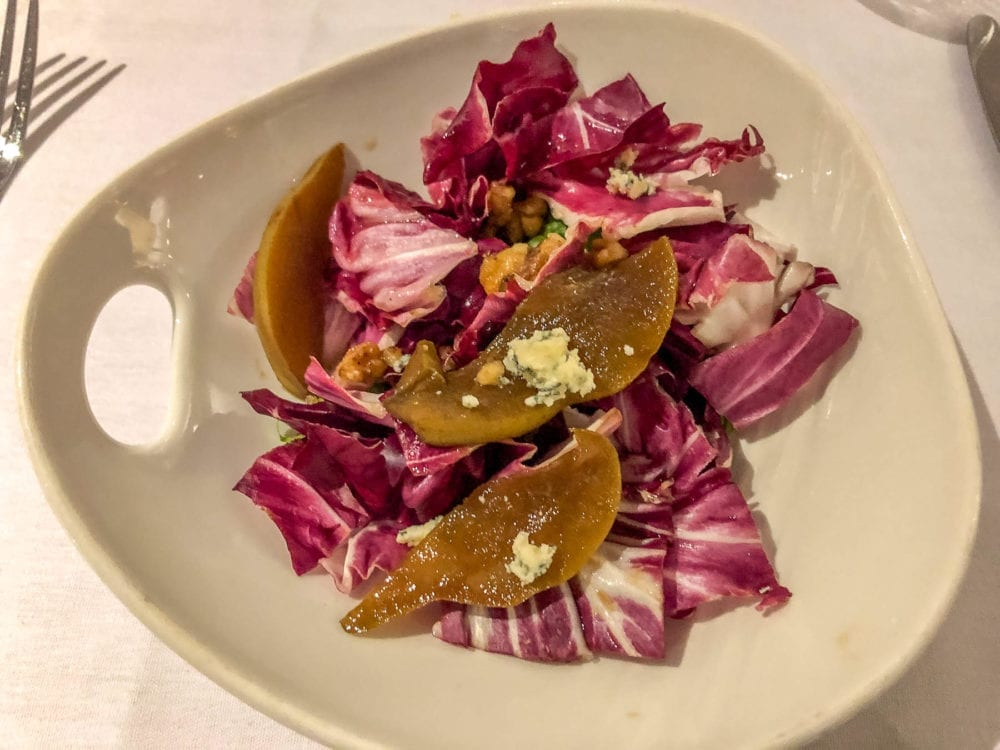 Angelo's Contorni Insalata di Radicchio con Gorgonzola Pere e Noci. Also known as radicchio leaves with blue cheese, grilled pear and candied walnuts. Yum!