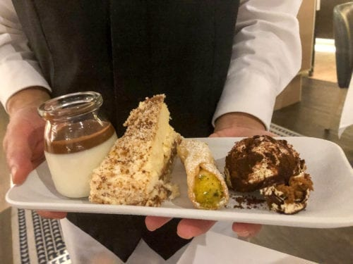 Angelo's Dessert Selection - Panna Cotta, Tiramisu, Pistachio Cannelloni , and a Custard Torte