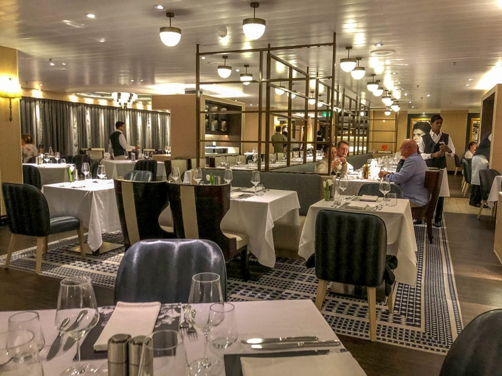 The modern styling inside Angelo's Restaurant on P&O Pacific Explorer.