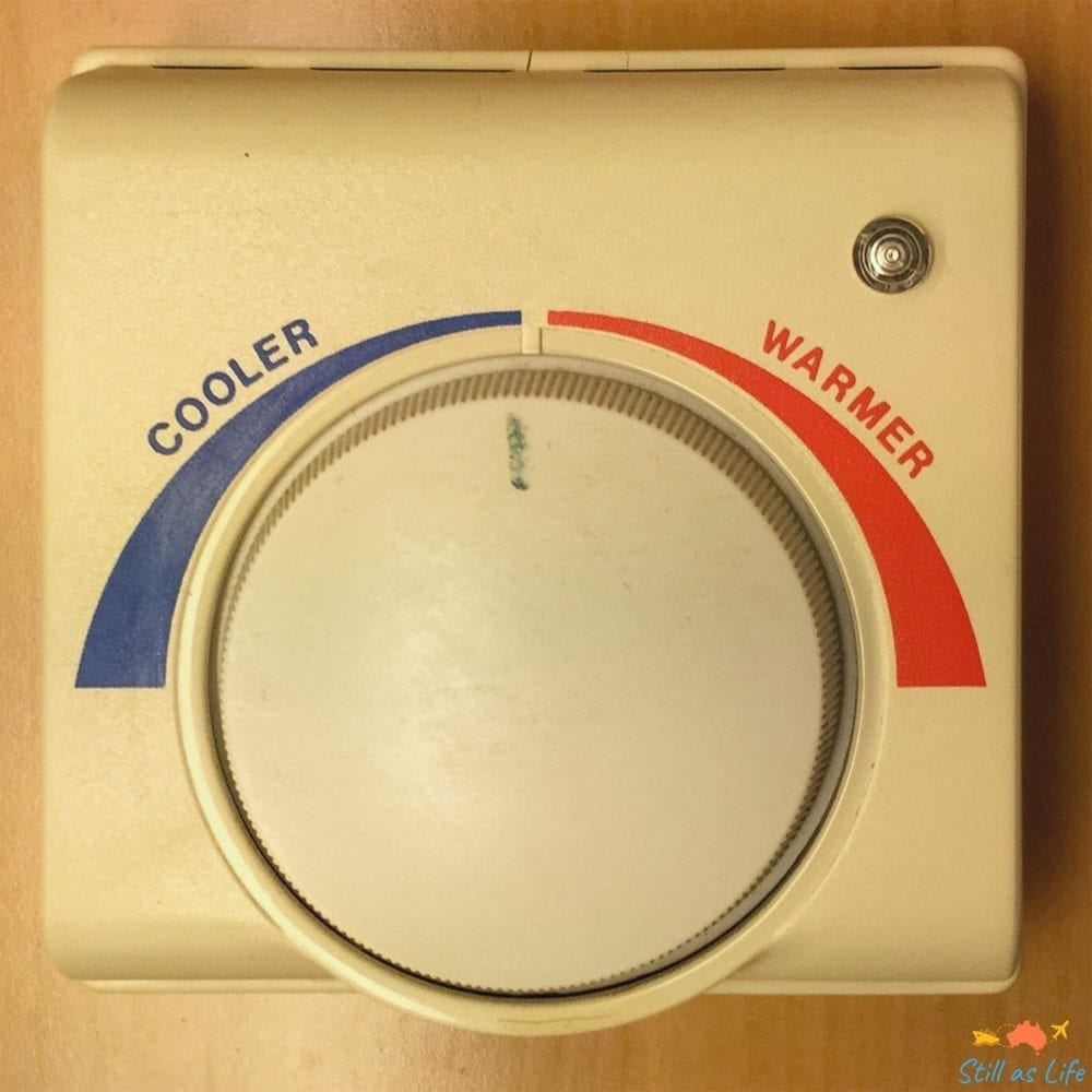 Stateroom thermostat on a cruise ship