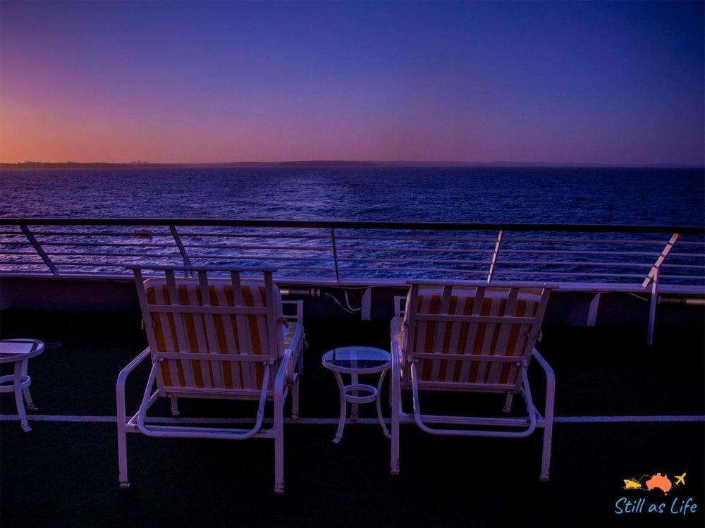 Watching the sunset at the aft of Pacific Explorer