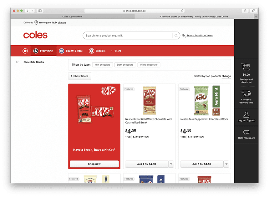 Chocolate at Coles