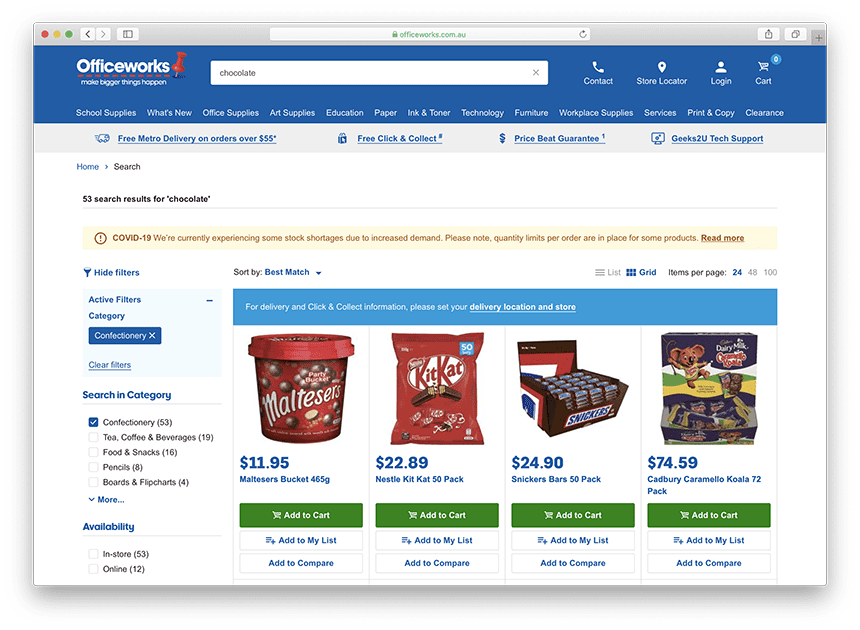 Chocolate at Officeworks