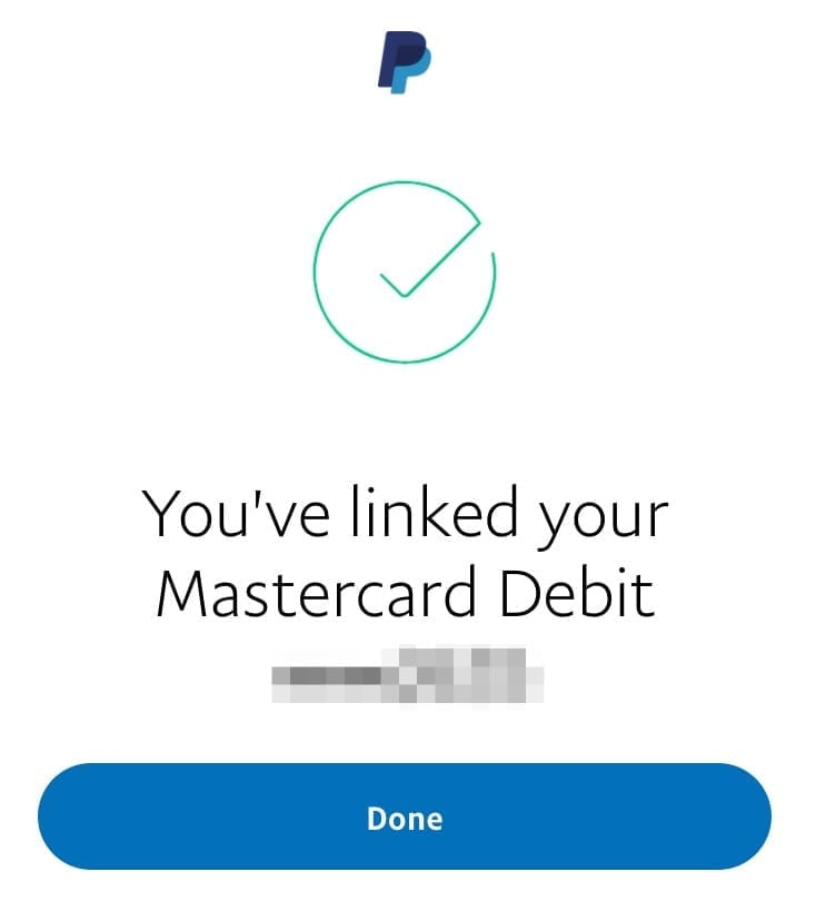 PayPal Card Linked