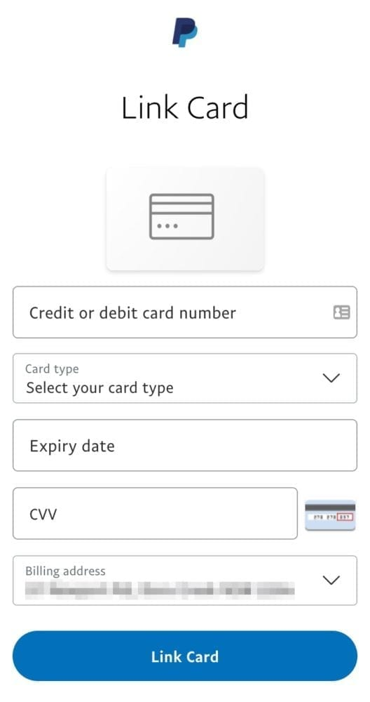 PayPal Link Card Screen