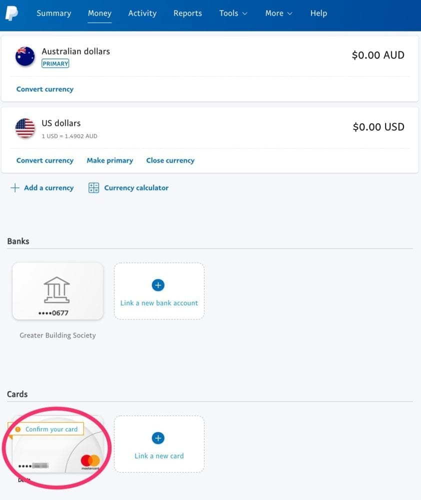 PayPal Money with Card Linked