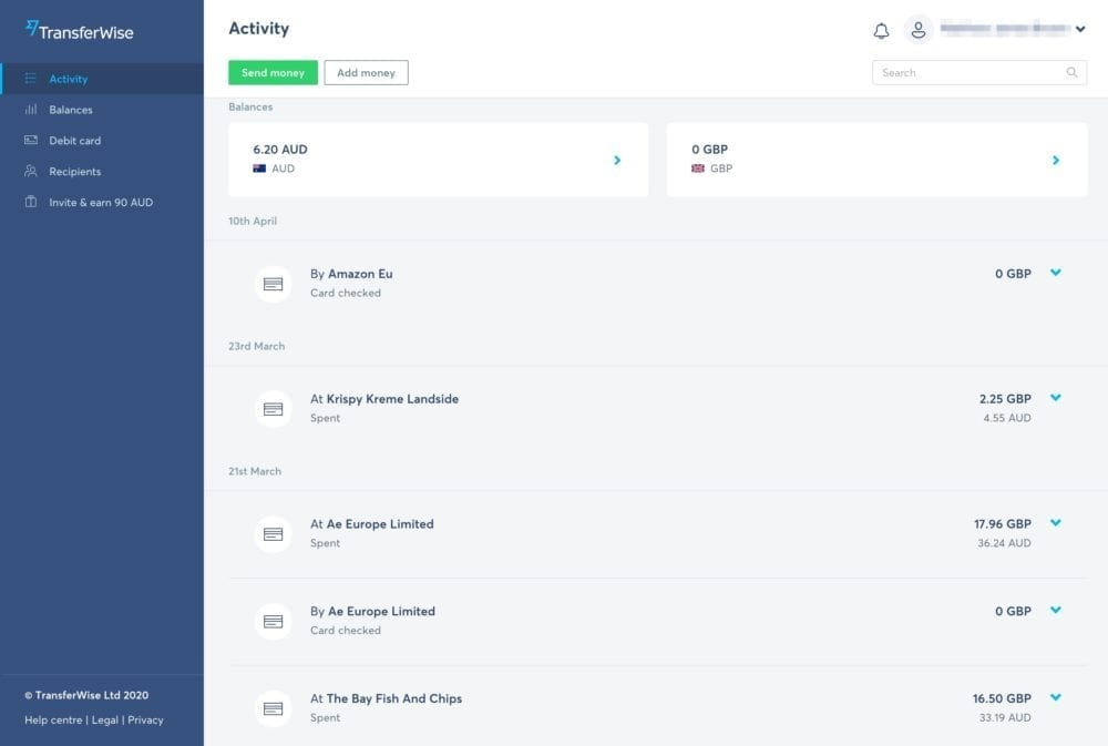 TransferWise Activity Screen