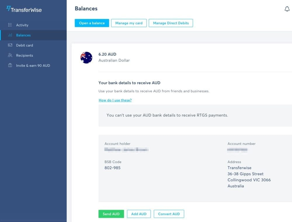 TransferWise Balances Screen