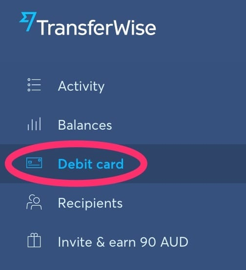 TransferWise Debit Card Menu