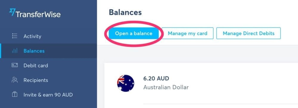 TransferWise Open A Balance Button