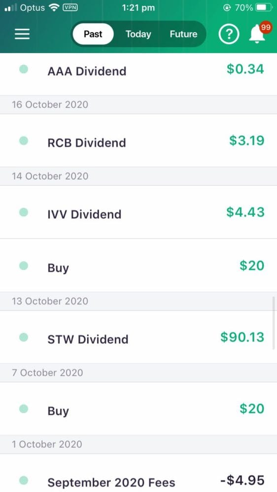 Raiz Review - Dividends