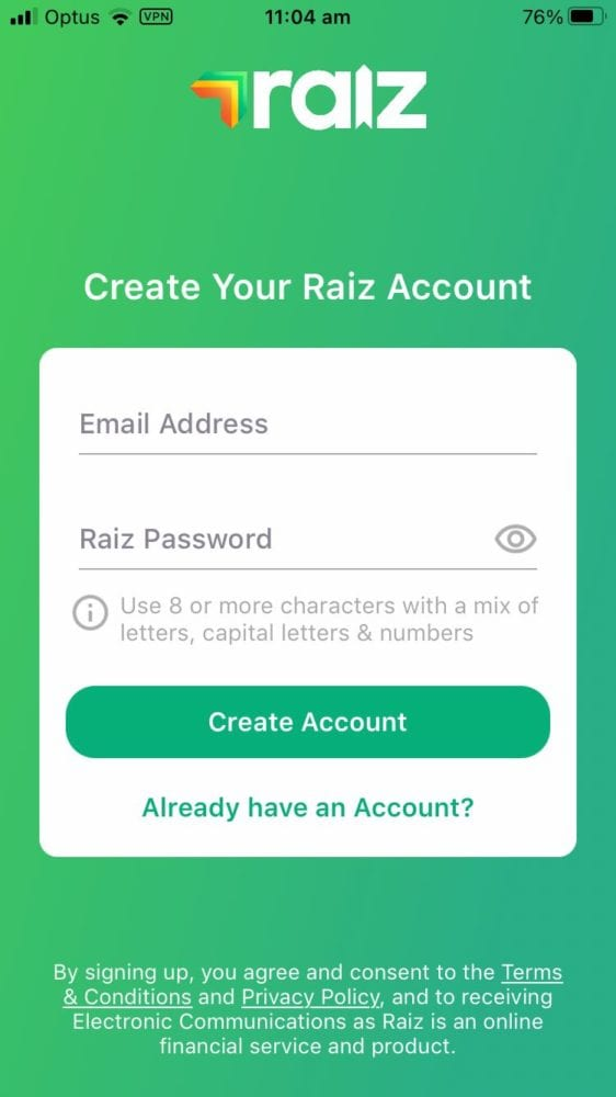 Raiz Review - Sign Up