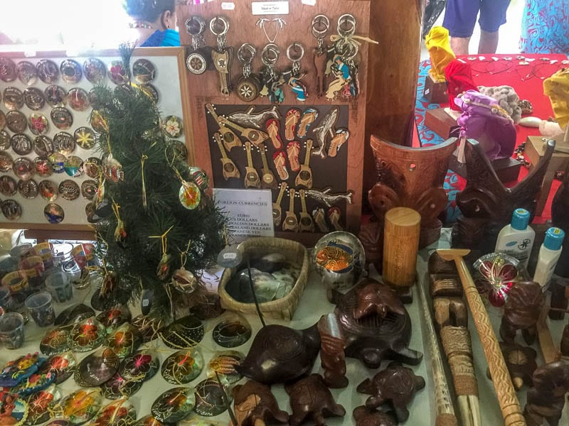 Souvenirs at a stall in Bora Bora