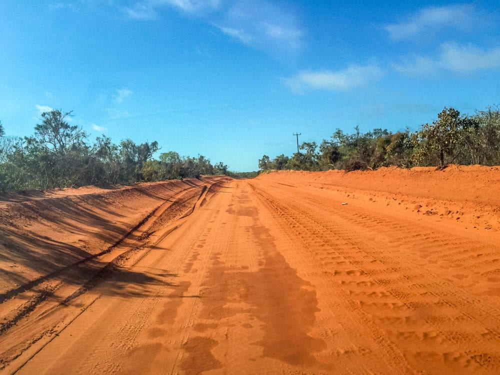 The dirt section of Gantheaume Point Road in Broome, on the way to Gantheaume Point