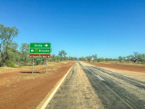 The Savannah Way sign pointing to Derby or Broome