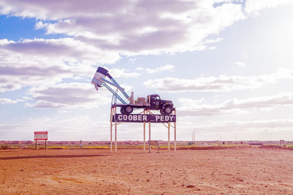 The iconic blower truck on the Coober Pedy welcome sign